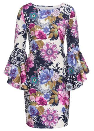 Sukienka neoprenowa bonprix lila-niebieski w kwiaty