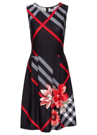 Sukienka w kratę bonprix czerwono-czarno-szary wzorzysty