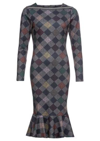 Sukienka żakardowa midi w kratę bonprix szary