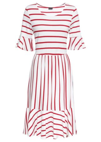 Sukienka midi z falbanami bonprix biało-czerwony chili w paski