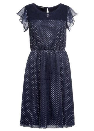 Sukienka z nadrukiem i koronką bonprix ciemnoniebieski w kropki