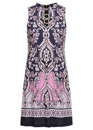 """Sukienka z nadrukiem """"paisley"""" bonprix ciemnoniebiesko-jasnoróżowy wzorzysty"""