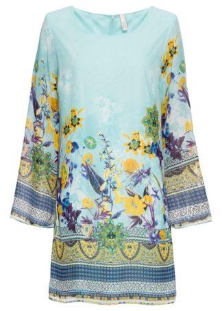 Sukienka szyfonowa bonprix niebieski wzorzysty