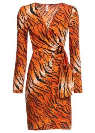 Sukienka w tygrysie cętki bonprix pomarańczowo-czarny w tygrysie cętki