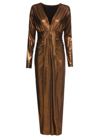 Długa sukienka metaliczna bonprix brązowy metaliczny