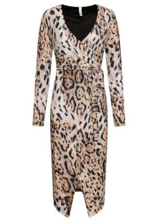 Sukienka midi w cętki leoparda bonprix brązowy - leo