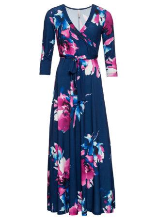 Długa sukienka w kwiaty bonprix ciemnoniebieski w kwiaty