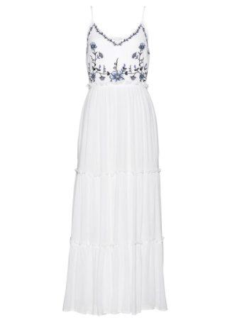Sukienka z haftem bonprix biało-niebieski