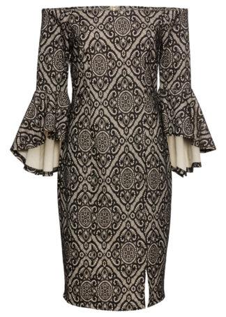 Sukienka z falbanami bonprix jasnobrązowo-czarny
