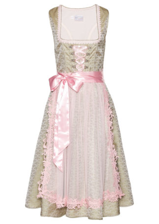 Sukienka ludowa z perełkami bonprix khaki - bladoróżowy wzorzysty