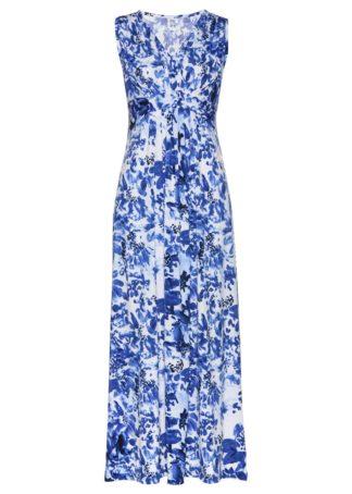 Długa sukienka z dżerseju bonprix biało-niebieski z nadrukiem