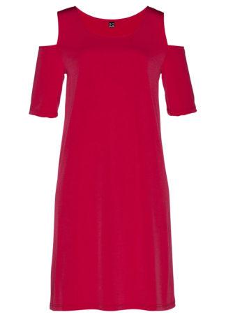 Sukienka cold-shoulder bonprix czerwień granatu