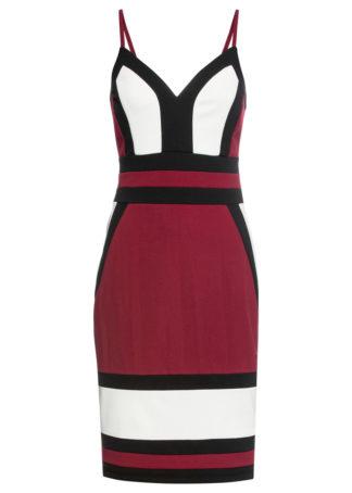 """Sukienka """"color-blocking"""" bonprix ciemnoczerwono-biały"""