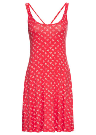 Sukienka shirtowa z nadrukiem bonprix jasnoczerwono-biały z nadrukiem