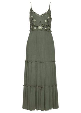 Sukienka z haftem bonprix oliwkowo-piaskowy