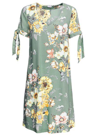 Sukienka z wiskozy bonprix pastelowy zielony w kwiaty
