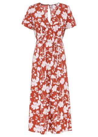 Sukienka midi bonprix czerwono-biały wzorzysty
