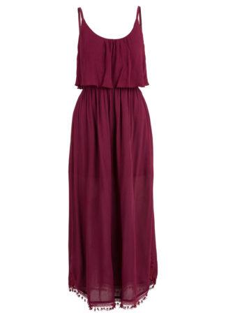 Sukienka midi z falbaną bonprix czerwony klonowy