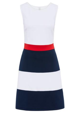Sukienka shirtowa w szerokie pasy bonprix biało-niebiesko-czerwony