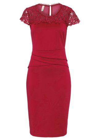 Sukienka z koronką bonprix czerwony chili