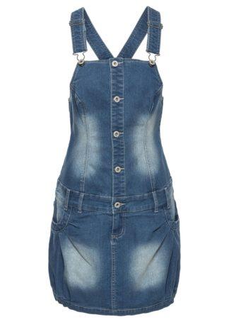 """Sukienka ogrodniczka z plisą guzikową bonprix niebieski """"stone"""""""