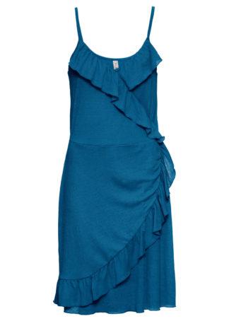 Sukienka shirtowa z założeniem kopertowym bonprix niebieski oceaniczny
