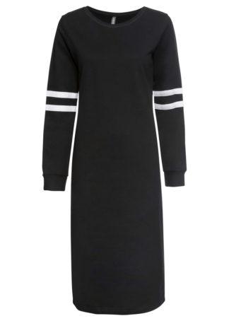 Sukienka dresowa w paski bonprix czarno-biały