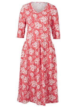 Sukienka z dżerseju z bawełny bonprix matowy koralowy