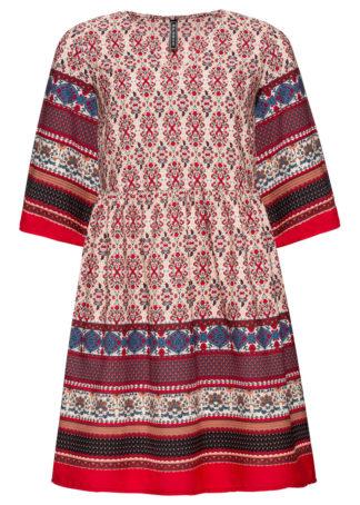 Sukienka bonprix czerwono-niebieski wzorzysty