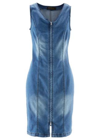 """Sukienka dżinsowa z zamkiem bonprix niebieski """"stone"""""""