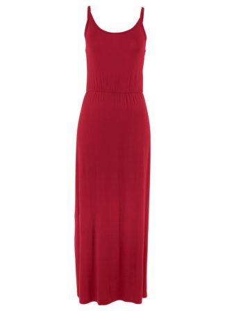 Długa sukienka z lejącej wiskozy bonprix pomarańczowo-czerwony