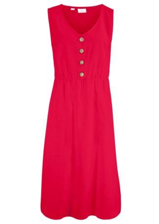 Sukienka lniana midi z plisą guzikową bonprix czerwony