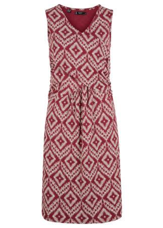 Sukienka kopertowa z nadrukiem bonprix czerwony rododendron w graficzny deseń
