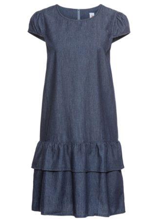 Sukienka dżinsowa z falbaną bonprix ciemnoniebieski