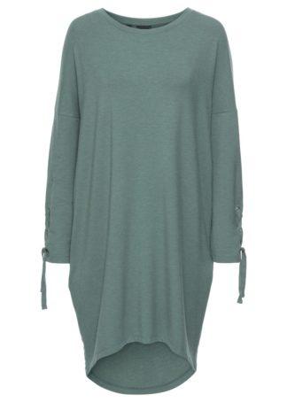 Sukienka dresowa ze sznurowaniem bonprix zielony eukaliptusowy melanż