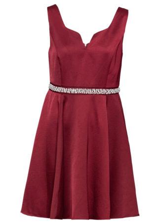 Sukienka z perełkami i sztrasami bonprix czerwony rubinowy