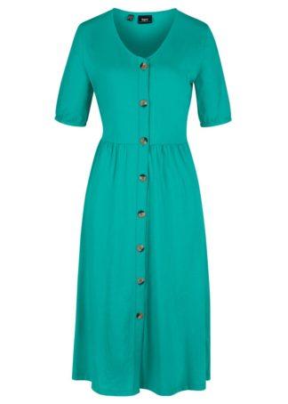 Sukienka z plisą guzikową bonprix szmaragdowy