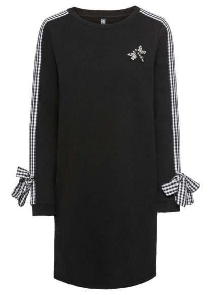Sukienka dresowa z kokardkami i aplikacją bonprix czarny
