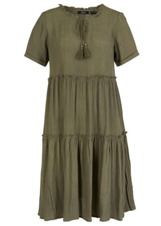 Sukienka kaftanowa z kreszowanego materiału bonprix oliwkowy