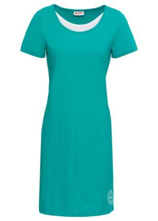 Sukienka shirtowa z bawełny bonprix szmaragdowy