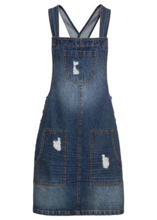 Sukienka dżinsowa ogrodniczka bonprix ciemny denim