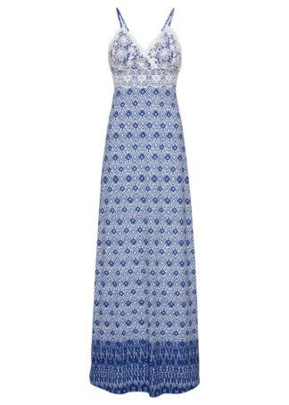 Długa sukienka z koronką bonprix niebiesko-biel wełny wzorzysty