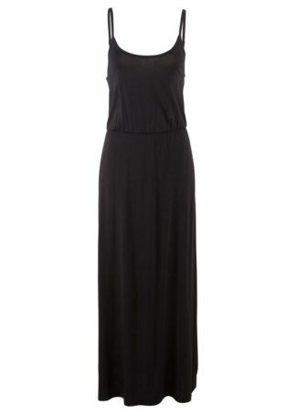 Długa sukienka z lejącej wiskozy bonprix czarny