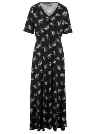 Długa sukienka z nadrukiem bonprix czarny w kwiaty