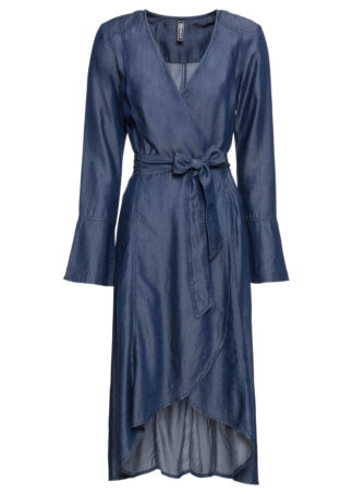 Sukienka dżinsowa z efektem założenia kopertowego bonprix ciemny denim
