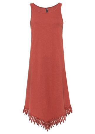 Sukienka shirtowa z szydełkową koronką bonprix rdzawoczerwony