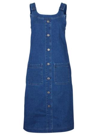 """Sukienka dżinsowa ogrodniczka z plisą guzikową bonprix niebieski """"stone"""""""