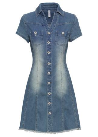 """Sukienka dżinsowa z guzikami bonprix niebieski """"stone"""""""