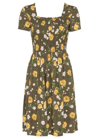 Sukienka bonprix zielony khaki w kwiaty