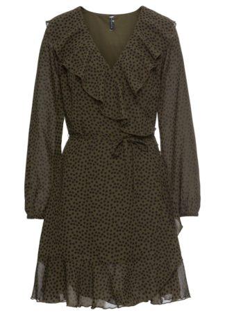 Sukienka kopertowa z falbanami bonprix ciemnooliwkowo-czarny w kropki